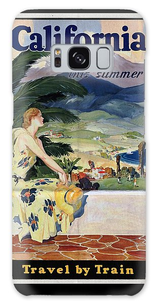 California This Summer - Travel By Train - Vintage Poster Folded Galaxy Case