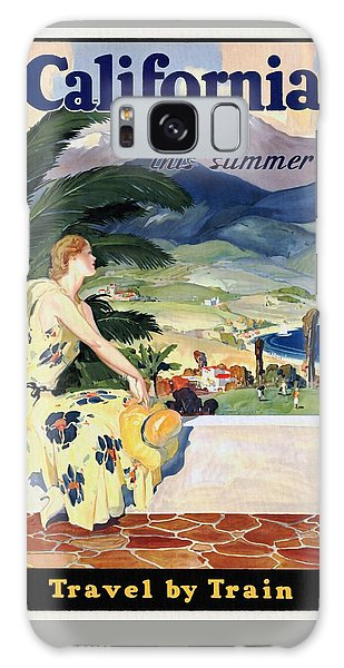 California This Summer - Travel By Train - Vintage Poster Restored Galaxy Case