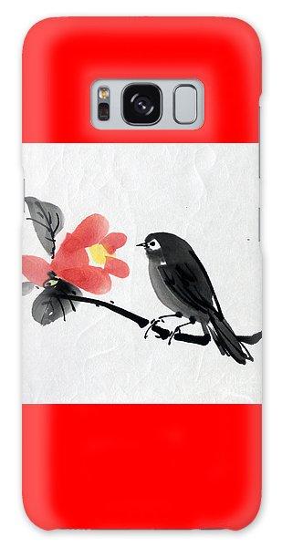 Camellia And A Little Bird Galaxy Case