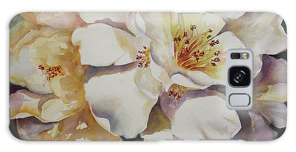 Camellias Golden Glow Galaxy Case by Roxanne Tobaison
