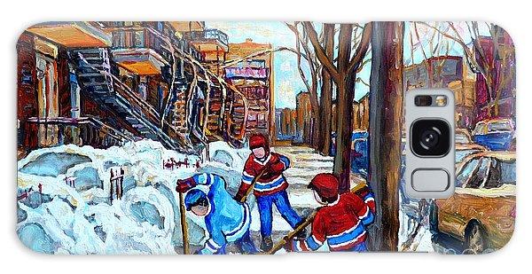 Canadian Art Street Hockey Game Verdun Montreal Memories Winter City Scene Paintings Carole Spandau Galaxy Case