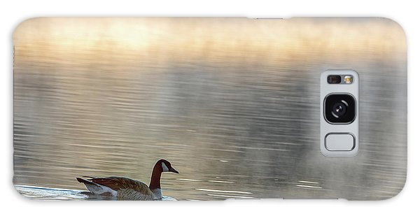 Canadian Goose In Misty Lake Galaxy Case