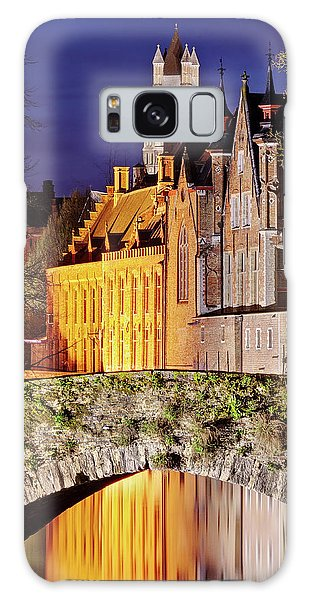Galaxy Case featuring the photograph Canal Bridge At Night - Bruges by Barry O Carroll