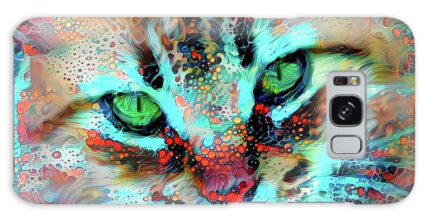 Candy The Colorful Green Eyed Cat Galaxy Case