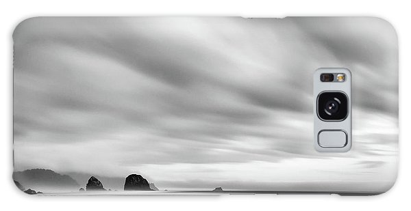 Cannon Beach Long Exposure Sunrise In Black And White Galaxy Case