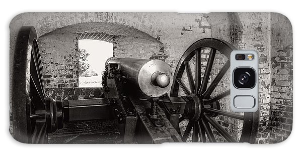 Cannon In Fort Pulaski In Black And White Galaxy Case