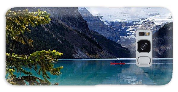 Canoe On Lake Louise Galaxy Case by Larry Ricker