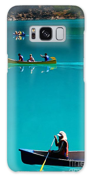 Canoeing On Glaciel Waters Galaxy Case