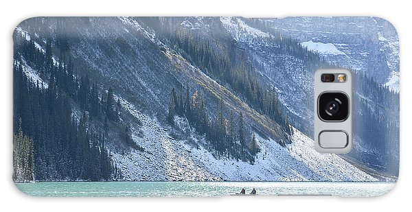 Canoeing On Lake Louise Galaxy Case by Keith Boone