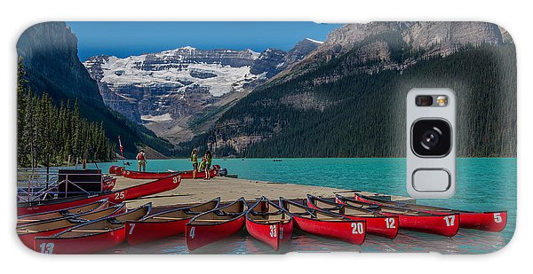 Canoes On Lake Louise Galaxy Case