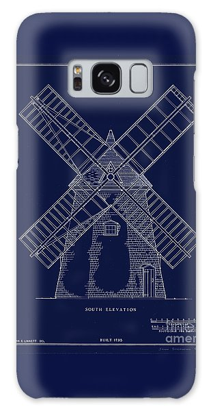 Historic Cape Cod Windmill Blueprint Galaxy Case by John Stephens