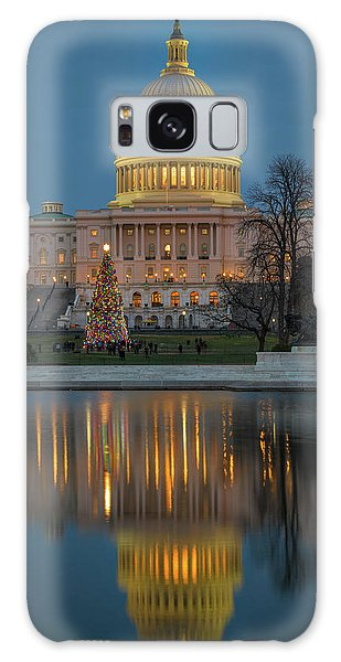 Galaxy Case featuring the photograph Capitol Reflection At Christmas by Cindy Lark Hartman