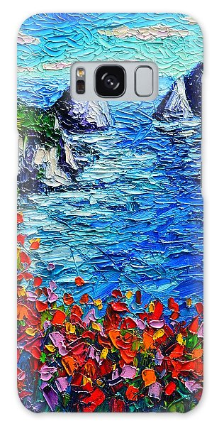 Capri Faraglioni 2 Italy Colors Modern Impressionist Palette Knife Oil Painting Ana Maria Edulescu  Galaxy Case