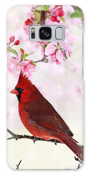 Cardinal Amid Spring Tree Blossoms Galaxy Case by Stephanie Frey