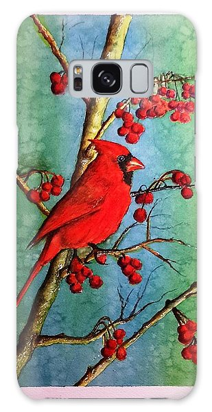Cardinal And Berries Galaxy Case