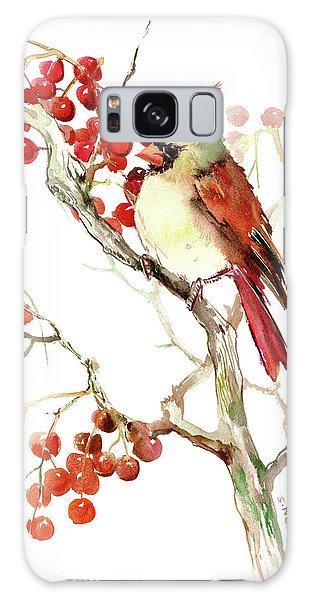 Cardinal Bird And Berries Galaxy Case