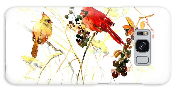 Cardinal Birds And Berries Galaxy Case