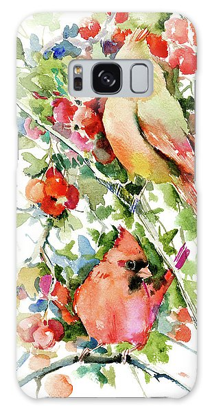 Cardinal Birds And Hawthorn Galaxy Case