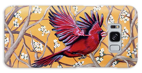 Cardinal In Flight Galaxy Case by Teresa Wing