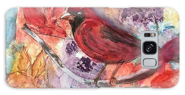 Cardinal In Flowers Galaxy Case