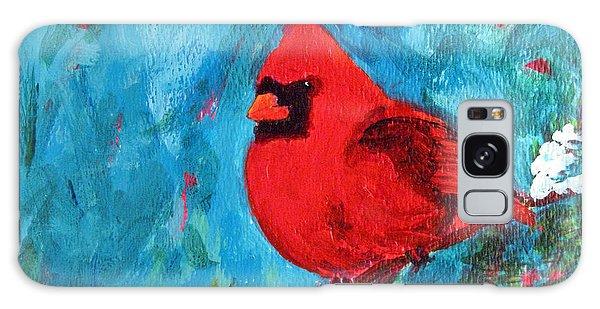 Cardinal Red Bird Watercolor Modern Art Galaxy Case