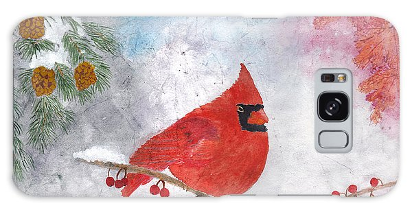 Cardinal With Red Berries And Pine Cones Galaxy Case