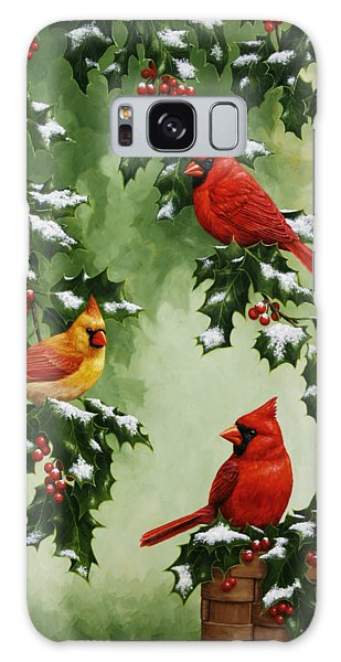 Song Bird Galaxy Case - Cardinals And Holly - Version With Snow by Crista Forest