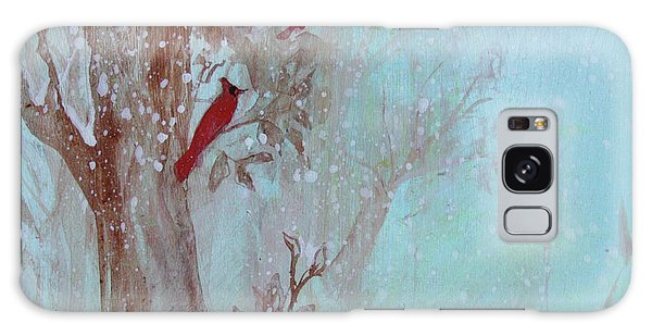 Galaxy Case featuring the painting Cardinals In Trees Whilst Snowing by Robin Maria Pedrero