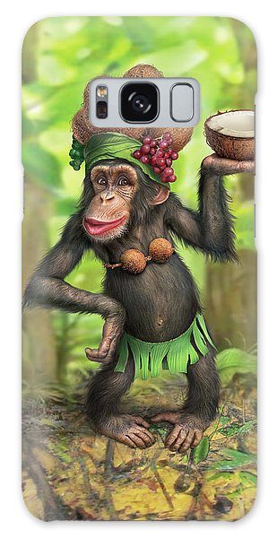 Chimpanzee Galaxy S8 Case - Carmen Coconuts by Mark Fredrickson