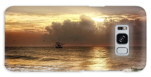 Carolina Beach Shrimp Boat At Sunrise Galaxy Case