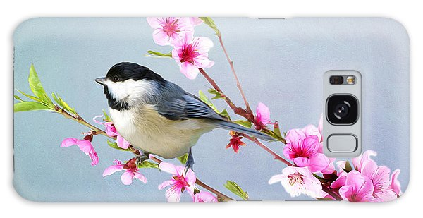 Chickadee Galaxy S8 Case - Carolina Chickadee And Peach Blossoms by Laura D Young