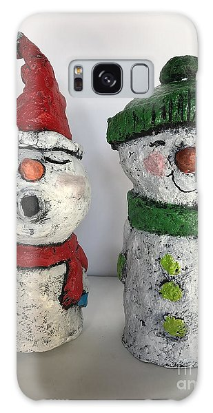 Caroling Snowmen Galaxy Case by Vickie Scarlett-Fisher