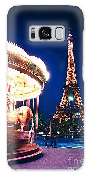 Travel Destinations Galaxy Case - Carousel And Eiffel Tower by Elena Elisseeva