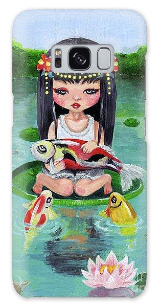 Carp And Girl Galaxy Case by Akiko Okabe