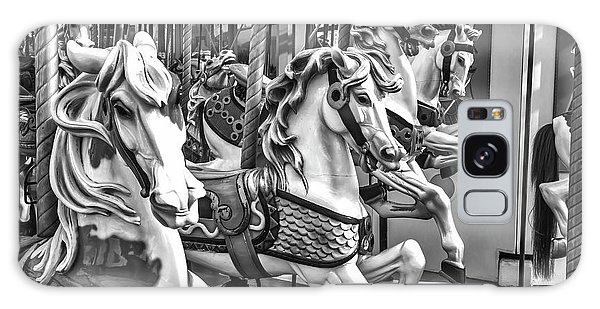 County Fair Galaxy Case - Carrousel Horses In Black And White by Garry Gay