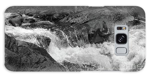 Cascade Stream Gorge, Rangeley, Maine  -70756-70771-pano-bw Galaxy Case