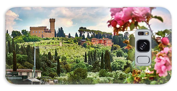 Roses And Castle On Green Tuscan Landscape In Florence, Italy Galaxy Case