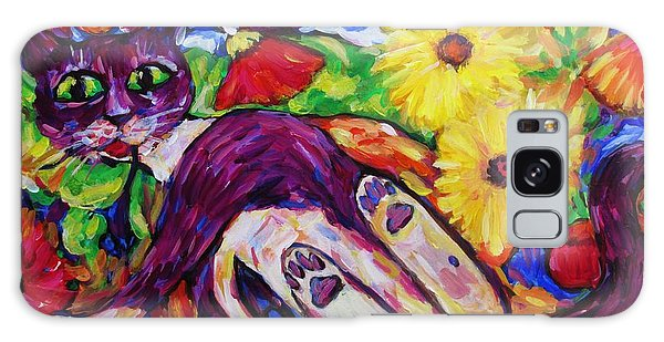 Cat Among Daisy Petals Galaxy Case by Dianne  Connolly