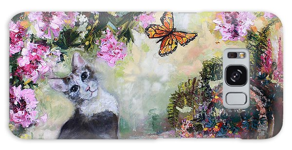 Cat And Butterflies In Cottage Garden Galaxy Case
