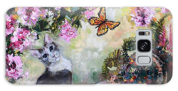 Cat And Butterflies In Cottage Garden Galaxy Case by Ginette Callaway