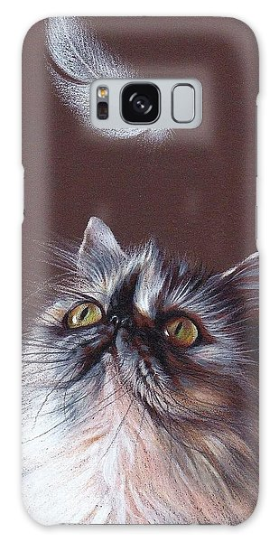 Cat And Feather Galaxy Case by Elena Kolotusha
