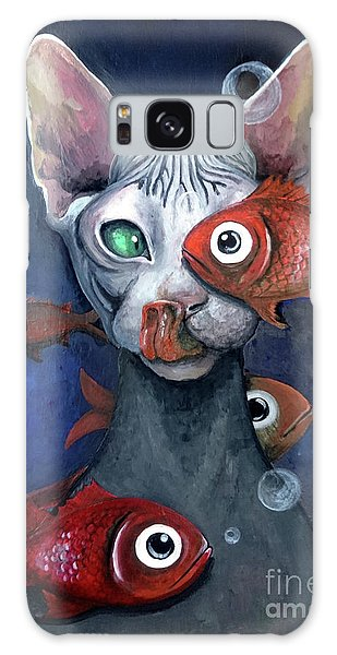 Cat And Fish Galaxy Case by Akiko Okabe