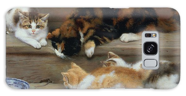 Cat And Kittens Chasing A Mouse   Galaxy Case