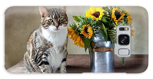 Beautiful Galaxy Case - Cat And Sunflowers by Nailia Schwarz