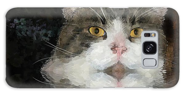 Cat At The Table Galaxy Case by Debra Baldwin