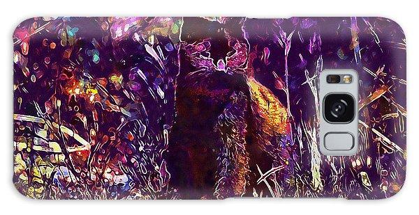 Galaxy Case featuring the digital art Cat Black Sun Meadow  by PixBreak Art