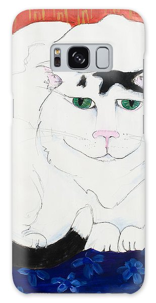 Cat II - Cat Dozing Off Galaxy Case by Leela Payne