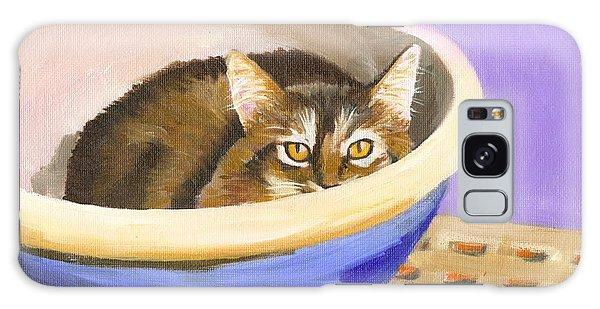 Cat In Bowl Galaxy Case by Mary Jo Zorad