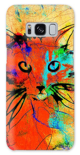 Cat In Red And Yellow Galaxy Case