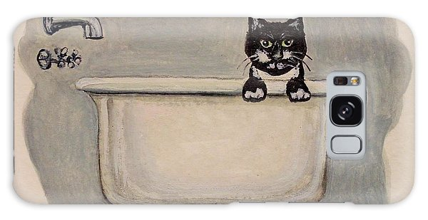 Cat In The Bathtub Galaxy Case by Elizabeth Robinette Tyndall